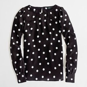 J Crew / Jcrew factory polka dot boat neck blouse